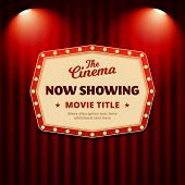 Now Showing Movie In Cinema Poster Design. Retro Billboard Sign With Spotlights And Theater Curtain  poster