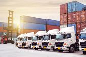 New Truck Fleet With Container Depot As For Shipping And Logistics Transportation Industry. poster