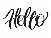 Word Hello For Greetings. Text Hello - Hand-lettering, Typography, Calligraphy. Script Hand Writing, poster