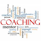 foto of seminars  - A Coaching word cloud concept with terms such as leader mentor seminar isntructor sports goals and more - JPG