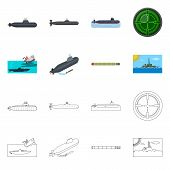 Vector Illustration Of War  And Ship Sign. Collection Of War  And Fleet Stock Symbol For Web. poster