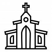 Catholic Church Icon. Outline Catholic Church Vector Icon For Web Design Isolated On White Backgroun poster