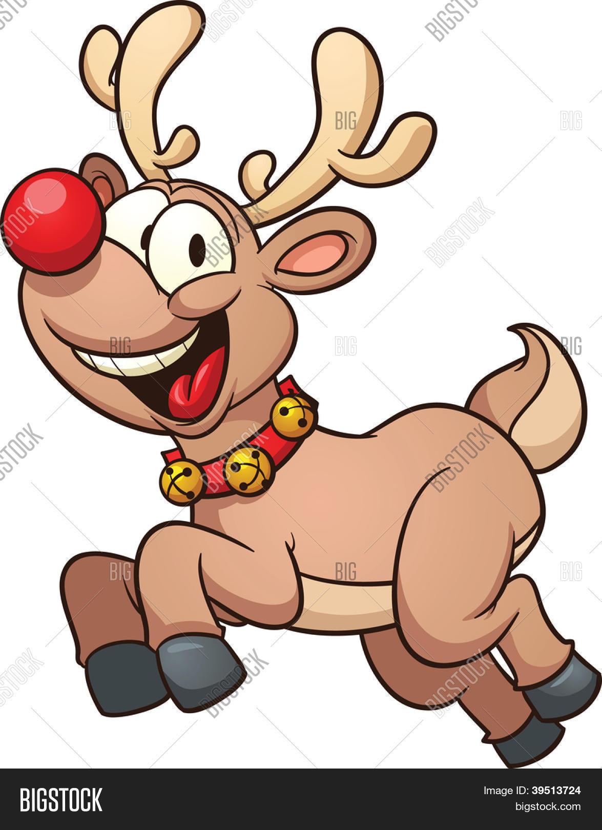 cute cartoon reindeer vector clip art illustration with simple