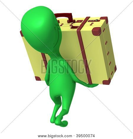 View Puppet Carry Suitcase On His Arms