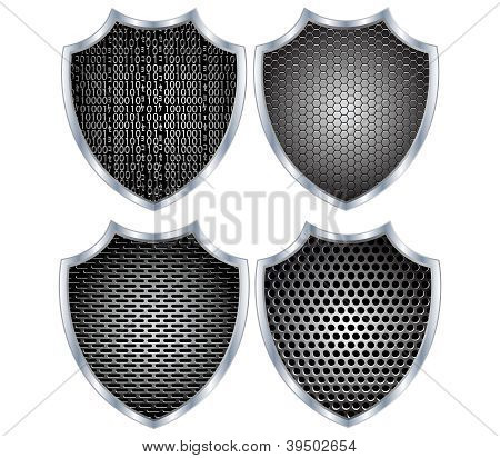 Security shield metal.Vector