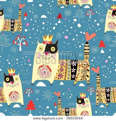 winter texture with cats