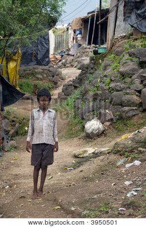 Indian Boy In Slum