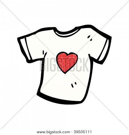 love heart tee shirt cartoon