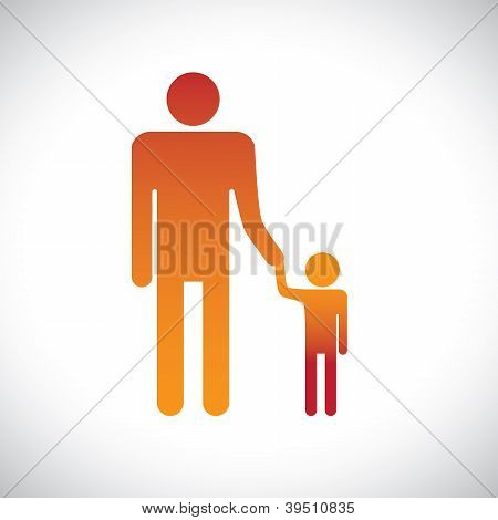 Illustration Of Father & Son Holding Together. This Graphic Represents The Bonding Between A Parent