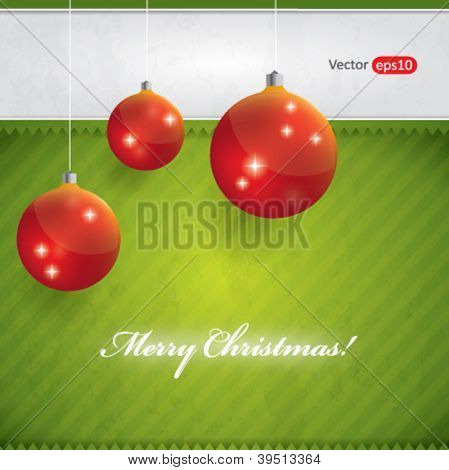 Green Christmas background with red balls