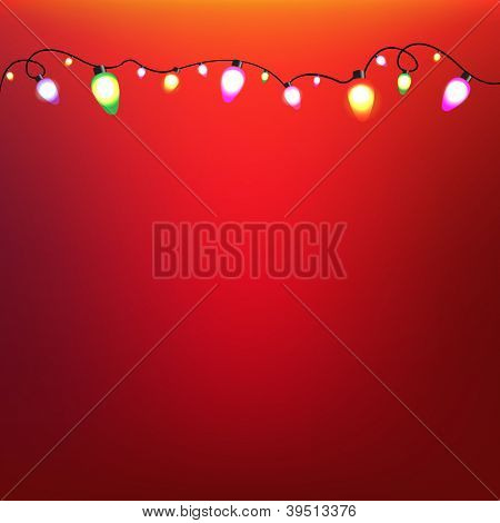 Colorful Bulb Garland With Gradient Mesh, Vector Illustration