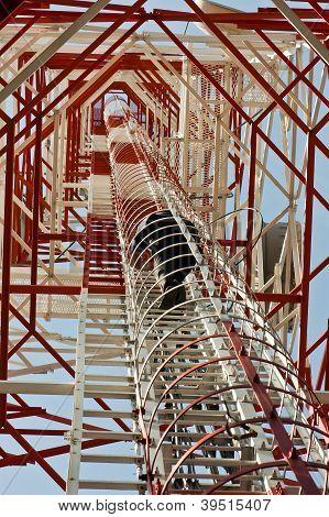 human inside antenna tower