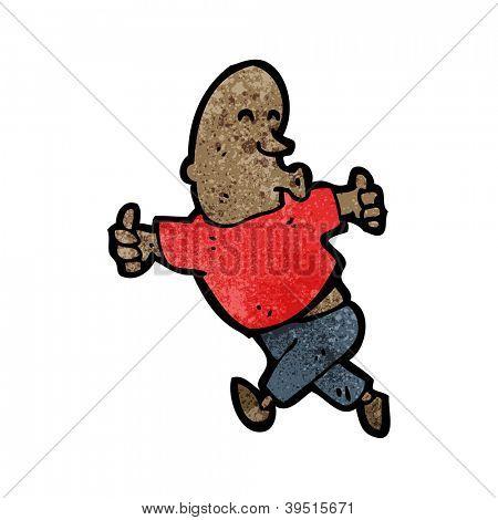 homem dos desenhos animados, dando thumbs up sinal