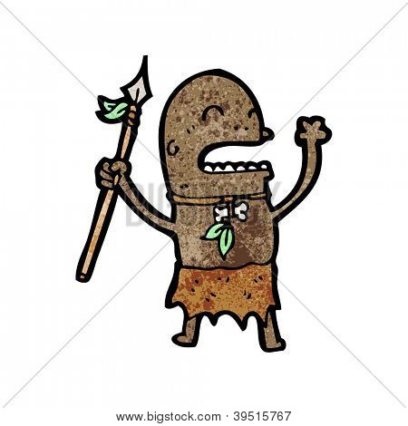 cartoon tribesman with spear
