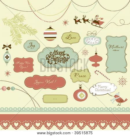 A set of Christmas scrapbook elements, vintage frames, ribbons, ornaments