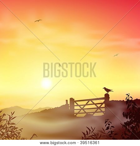 A Misty Landscape with Farm Gate and Sunrise, Sunset