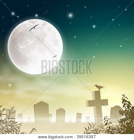 A Misty Graveyard, Cemetery with Tombstones and Moon