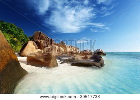 sunset on the beach, Anse Source d'Argent, La Digue island, Seyshelles