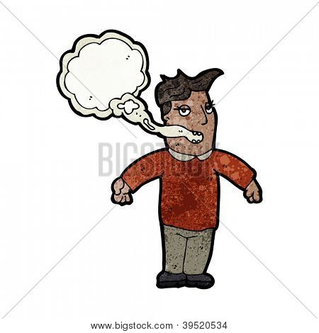 cartoon man with smokers breath