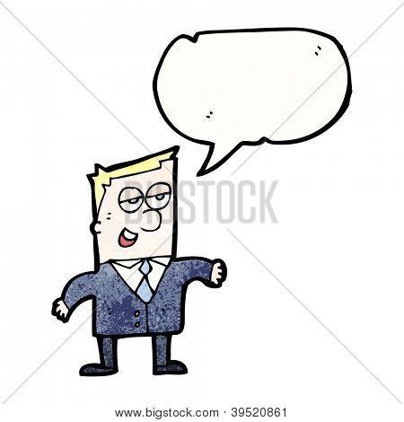 cartoon salesman with speech bubble