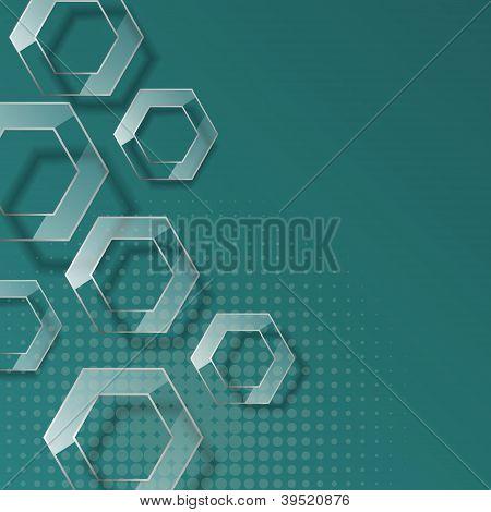 Abstract glass geometric hexagons.