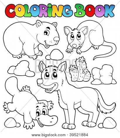 Coloring book Australian fauna 1 - vector illustration.