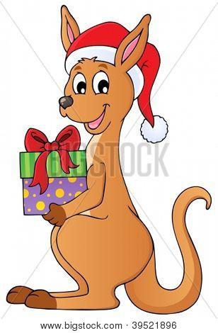 Christmas kangaroo theme image 1 - vector illustration.