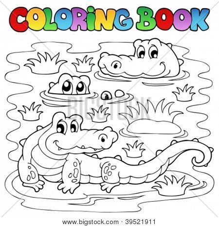 Coloring book crocodile image 1 - vector illustration.