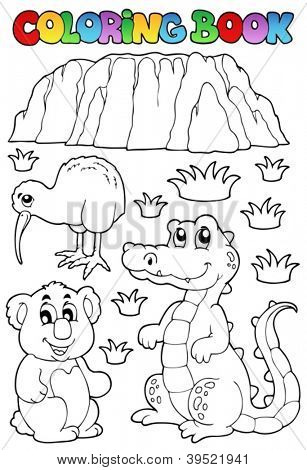 Coloring book Australian fauna 3 - vector illustration.