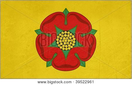 Official grunge flag of Lancashire with red rose, England.