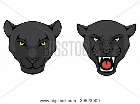 line illustration of a black panther head, suitable as tattoo or team mascot