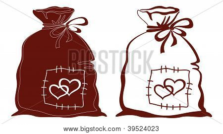 Bag with hearts, silhouette, set