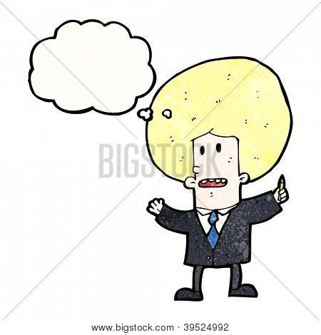 cartoon big hair businessman