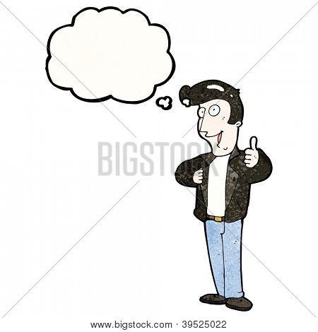 homem dos desenhos animados da década de 1950, dando thumbs up símbolo