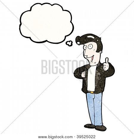 cartoon 1950s man giving thumbs up symbol