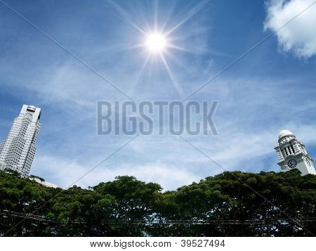 Victoria Clock Tower And Tower,sky And Sun, Singapore