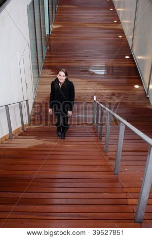 Brunette Woman Walking Up Stairs
