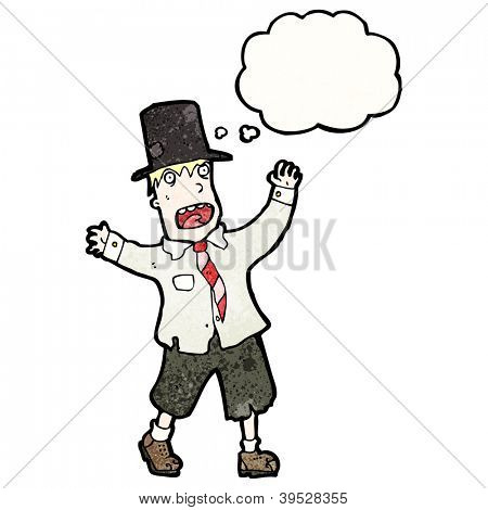 cartoon hobo man in top hat with thought bubble