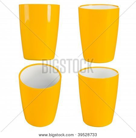 Yellow Plastic Glass For Juice