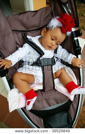 Baby Sit On Her Stroller