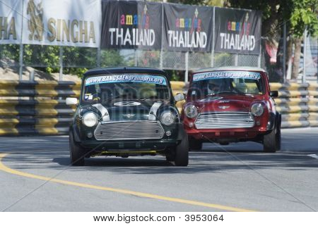 Two Mini Coopers Racing