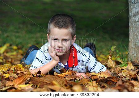 Boy Enjoys Autumn In Arkansas