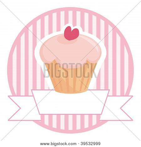 Vector retro cupcake on pink vintage strips background with white place for your own text