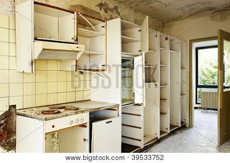 old kitchen destroyed, interior abandoned house