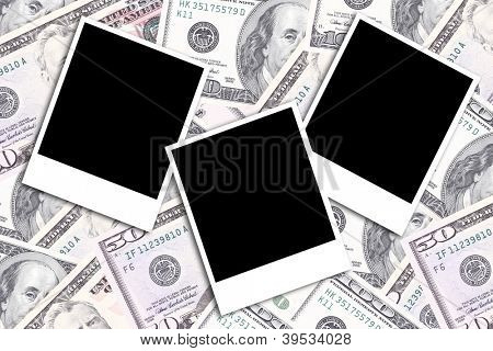 dollar bills background with old photo frames above, business studio photo