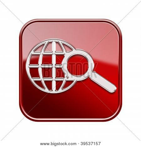 Globe And Magnifier Icon Red, Isolated On White Background