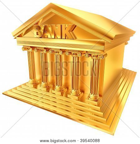 3D golden symbol of a bank building
