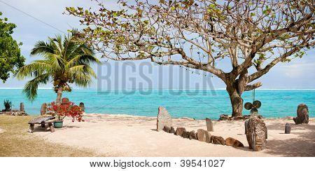 Public beach on Moorea island in French Polynesia
