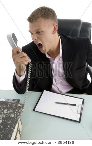 Angry Employee Shouting On Phone