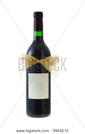 Bottle Of Red Wine Decorated With Bow Ribbon